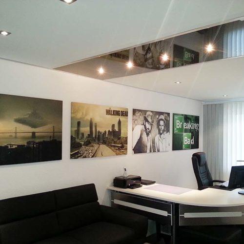Büro und Arbeitszimmer mit PLAMECO Spanndecke renoviert - Ruhrgebiet Oberhausen Essen Gelsenkirchen