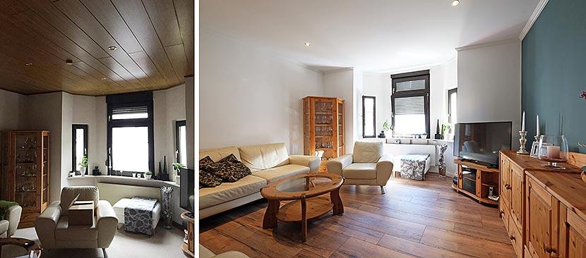 Neue Wohnzimmerdecke - Vorher-Nachher-Vergleich