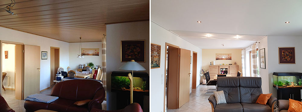 Ein häufiges Problem: die Zimmerdecke ist zu dunkel. Ein heller Raum mit heller Decke wirkt wohnlicher.
